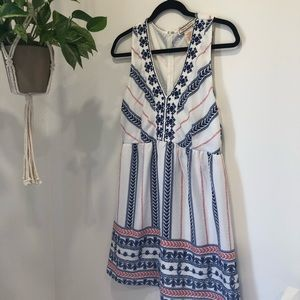 FLYING TOMATO - White Blue and Red Embroided Dress